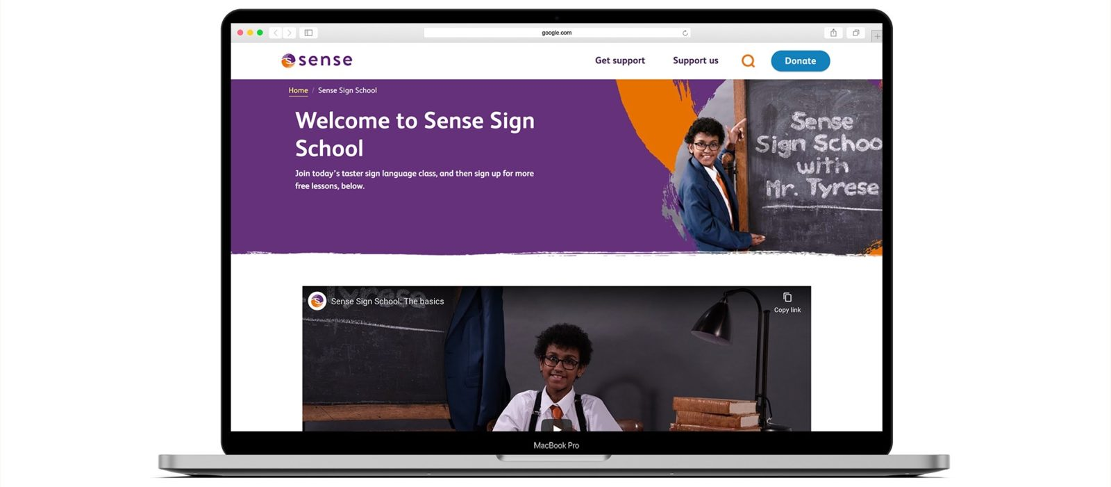 Desktop mock-up of Sense Sign School website