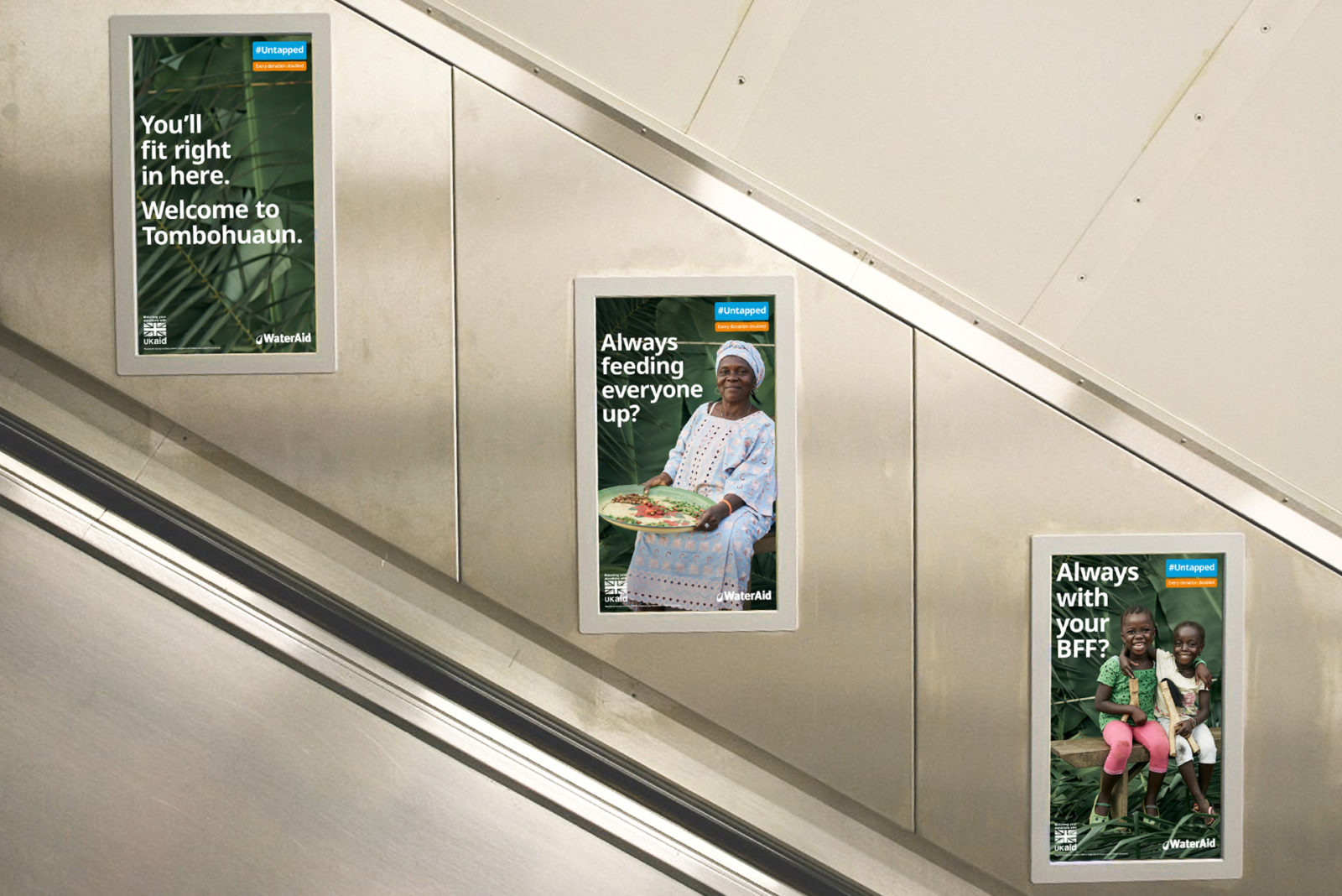 Tube escalator advertising posters of WaterAid Tombohuaun campaign